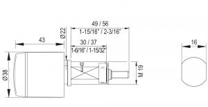 SALTO XS4 GEO Automatencilinder zijaanzicht tekening afmetingen