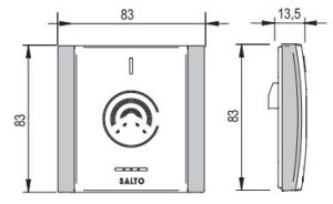 SALTO XS4 Original Modulaire Wandlezer tekening afmetingen