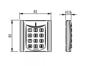 SALTO XS4 Codepaneel voor modulaire wandlezers tekening afmetingen