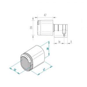 SALTO Neo halve cilinder blueprint afmetingen