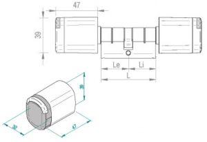 SALTO Neo cilinder blueprint afmetingen